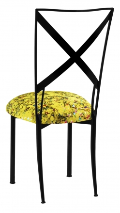 Blak. with Yellow Paint Splatter Knit Cushion (1)
