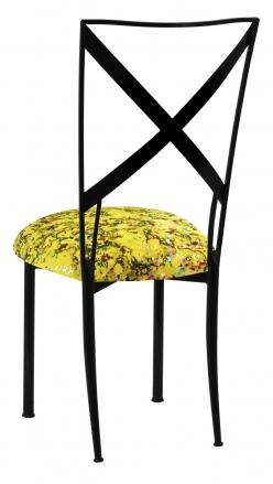 Blak. with Yellow Paint Splatter Knit Cushion (1)