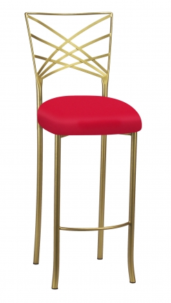 Gold Fanfare Barstool with Million Dollar Red Knit Cushion (2)