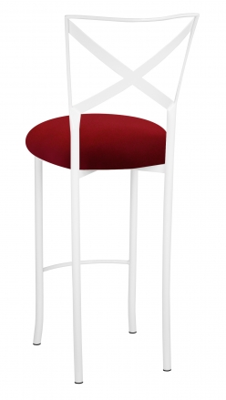 Simply X White Barstool with Red Stretch Knit Cushion (1)
