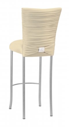 Chloe Ivory Stretch Knit Barstool Cover with Rhinestone Accent Band and Cushion on Silver Legs (1)