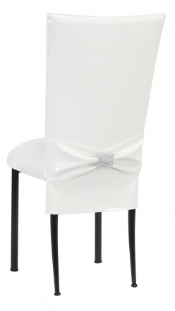 White Patent Chair Cover and Rhinestone Belt with White Stretch Knit Cushion on Black Legs (1)
