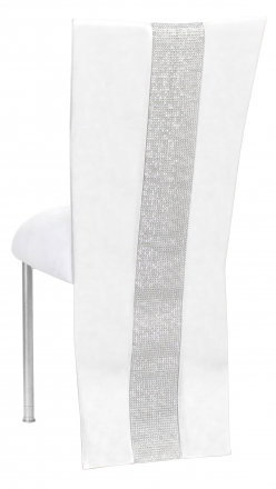 White Suede Jacket with Rhinestone Center and Cushion on Silver Legs (1)