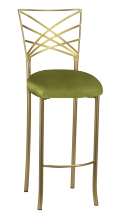Gold Fanfare Barstool with Lime Satin Cushion (2)