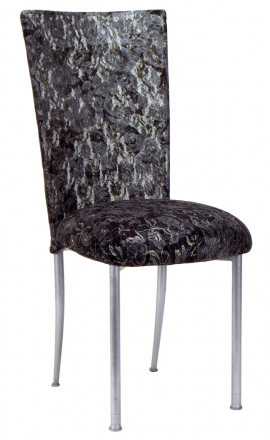 Silver X with Black Lace Chair Cover and Black Lace over Black Stretch Knit Cushion (2)