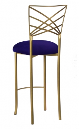 Gold Fanfare Barstool with Navy Stretch Knit Cushion (1)