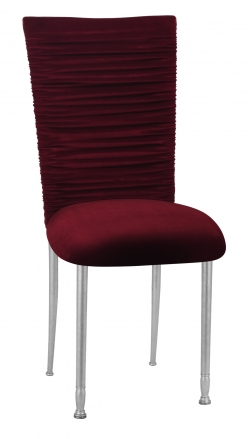 Chloe Cranberry Velvet Chair Cover and Cushion on Silver Legs (2)