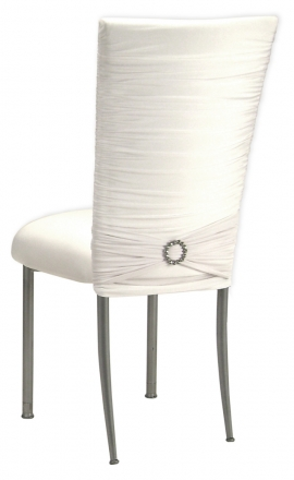 Chloe White Stretch Knit Chair Cover, Jewel Band and Cushion on Silver Legs (1)