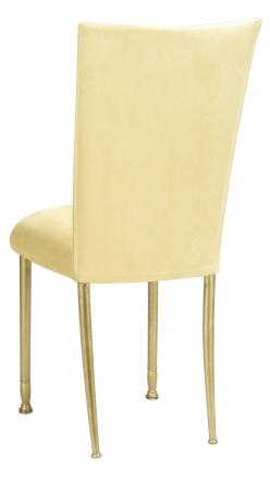 Buttercup Suede Chair Cover and Cushion with Gold Legs (1)