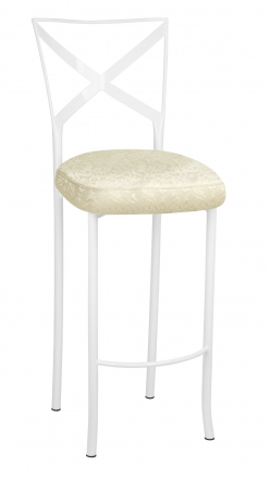 Simply X White Barstool with Victoriana Boxed Cushion (2)