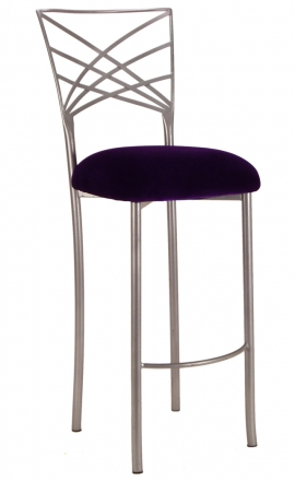 Silver Fanfare Barstool with Eggplant Velvet Cushion (2)