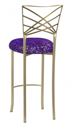 Gold Fanfare Barstool with Purple Paint Splatter Knit Cushion (1)