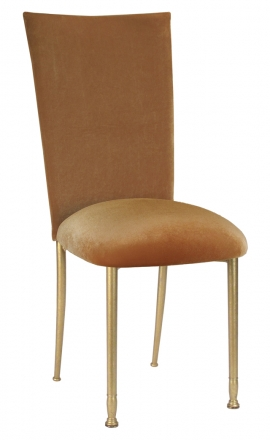 Gold Velvet Chair Cover and Cushion on Gold Legs (2)