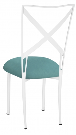Simply X White with Turquoise Suede Cushion (1)