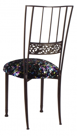 Mahogany Bella Fleur with Black Paint Splatter Knit Cushion (1)
