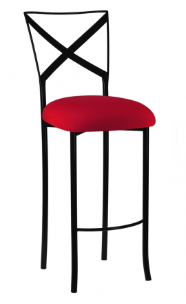 Blak. Barstool with Red Stretch Knit Cushion (2)