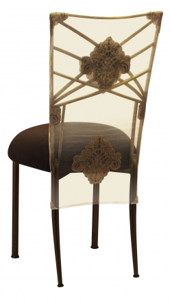 Two Tone Gold Fanfare with Organza Medallion 3/4 Chair Cover and Chocolate Suede Cushion (1)