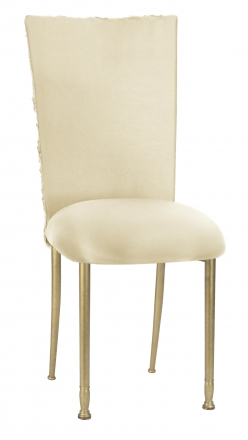 Ivory Rosette Chair Cover with Ivory Stretch Knit Cushion on Gold Legs (2)