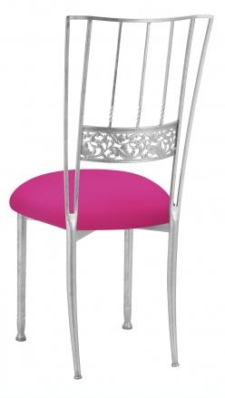 Silver Bella Fleur with Hot Pink Stretch Knit Cushion (1)