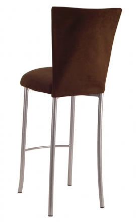 Chocolate Suede Barstool Cover and Cushion on Silver Legs (1)