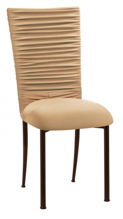 Chloe Beige Stretch Knit Chair Cover with Rhinestone Accent and Cushion on Brown Legs (2)