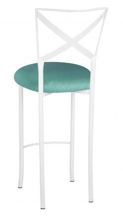 Simply X White Barstool with Turquoise Velvet Cushion (1)