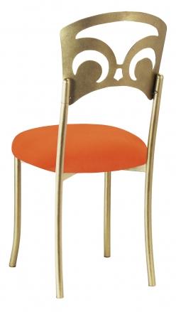Gold Fleur de Lis with Orange Velvet Cushion (1)
