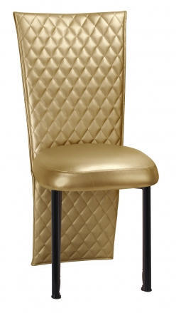 Gold Quilted Leatherette Jacket and Boxed Cushion on Black Legs (2)