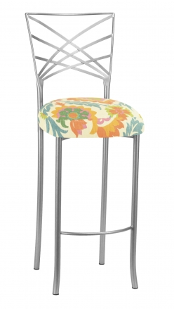 Silver Fanfare Barstool with Floral Bloom Boxed Cushion (2)