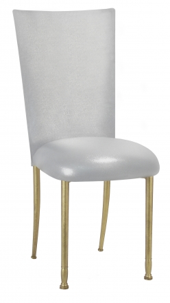 Metallic Silver Stretch Knit Chair Cover and Cushion on Gold Legs (2)