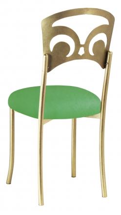 Gold Fleur de Lis with Kelly Green Stretch Knit Cushion (1)