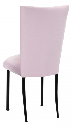 Soft Pink Velvet Chair Cover and Cushion on Black Legs (1)
