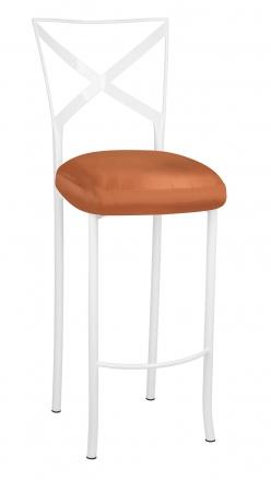 Simply X White Barstool with Orange Taffeta Boxed Cushion (2)