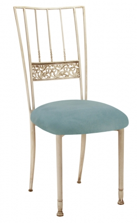 Ivory Bella Fleur with Ice Blue Suede Cushion (2)