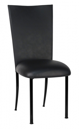 Black Leatherette Chair Cover and Cushion on Black Legs (2)
