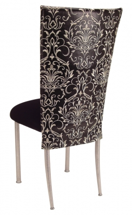 Black and White Dynasty Chair Cover with Black Stretch Knit Cushion on Silver Legs (1)