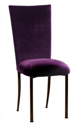 Eggplant Velvet Chair Cover and Cushion on Brown Legs (2)