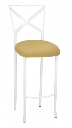 Simply X White Barstool with Gold Stretch Knit Cushion (2)