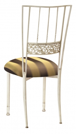 Ivory Bella Fleur with Brown & Gold Striped Cushion (1)