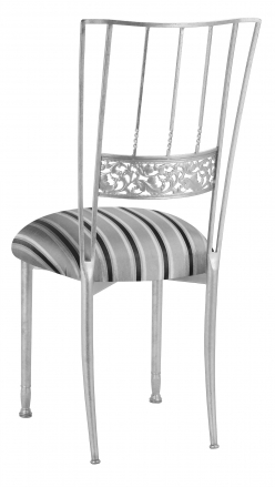 Silver Bella Fleur with Charcoal Striped Cushion (1)