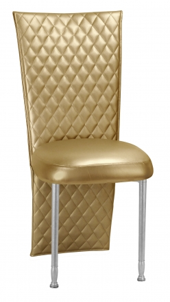 Gold Quilted Leatherette Jacket and Boxed Cushion on Silver Legs (2)