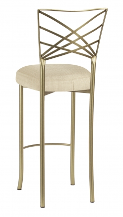 Gold Fanfare Barstool with Parchment Linette Boxed Cushion (1)