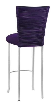Eggplant Velvet Chloe Barstool Cover and Cushion on Silver Legs (1)