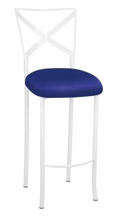 Simply X White Barstool with Royal Blue Stretch Knit Cushion (2)