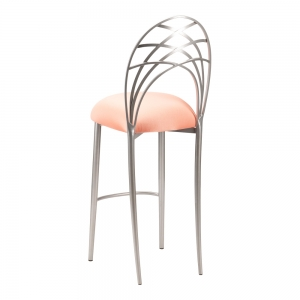 Silver Piazza Barstool with Cantaloupe Stretch Knit Cushion (1)