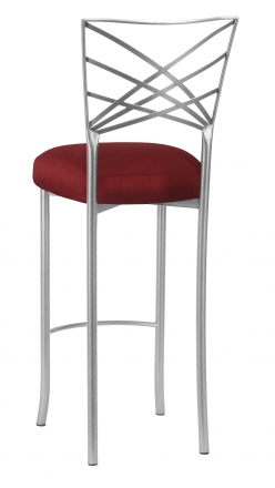 Silver Fanfare Barstool with Burnt Red Dupioni Boxed Cushion (1)