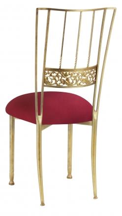 Gold Bella Fleur with Cranberry Stretch Knit Cushion (1)