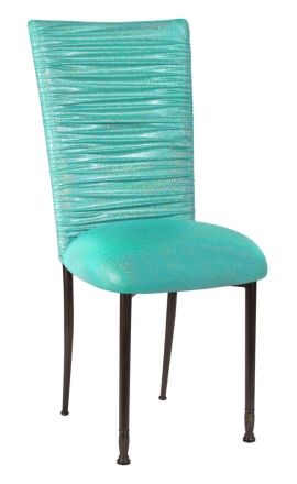 Chloe Mermaid Stretch Knit Chair Cover and Cushion on Mahogany Legs (2)
