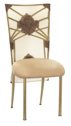 Gold Fanfare with Organza Medallion 3/4 Chair Cover and Toffee Stretch Knit Cushion (2)