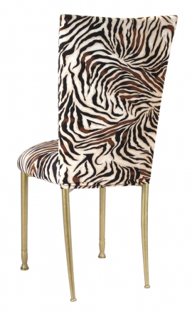 Zebra Stretch Knit Chair Cover and Cushion on Gold Legs (1)